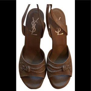 YSL Saint Laurent wedge leather sling back sandals